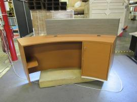 Custom Reception Desk with Toe Kick Accent Lights, Locking Storage, Wire Management, Shelves, and Graphics